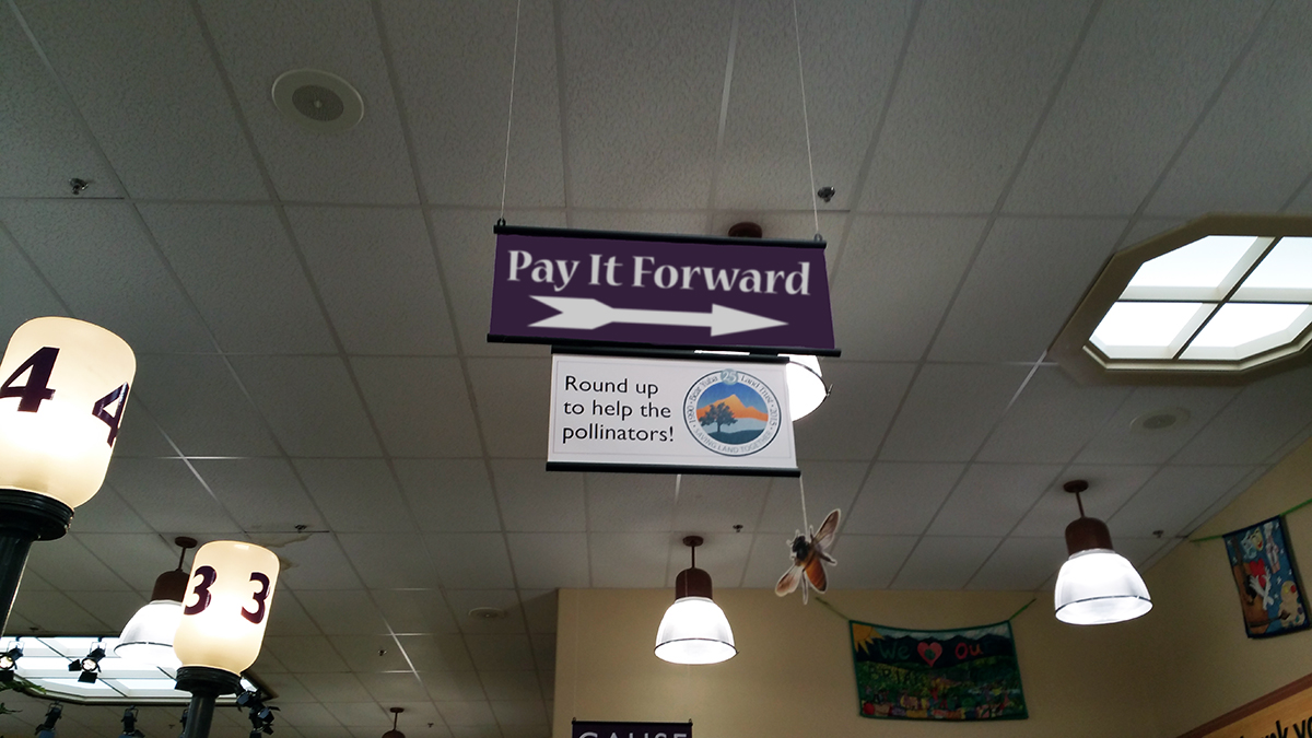 "The ""Pay It Forward"" checkout line allows BriarPatch customers to pay for the groceries of the person directly behind them in line."