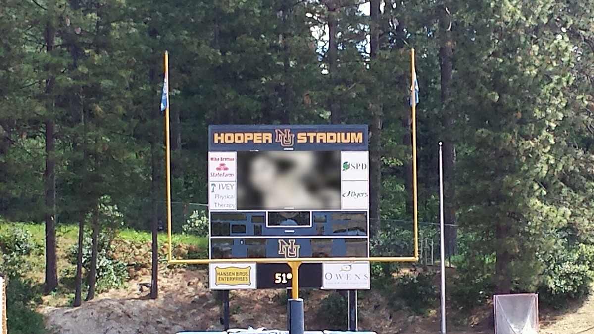 """Russian"" hackers have claimed responsibility for placing adult movies on an area high schools JumboTron. Source: High School Senior Kevin Thomas."