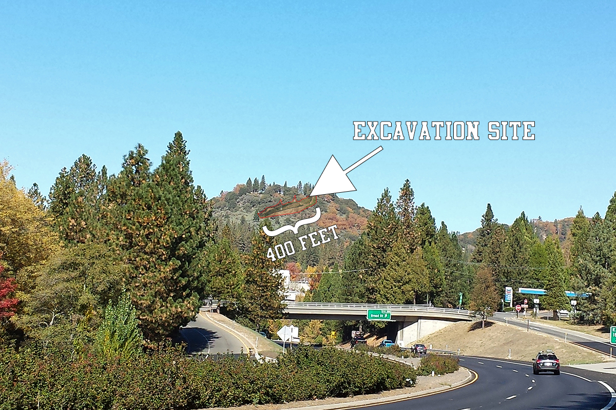 A view of the Ark excavation site from Highway 49 just outside of Nevada City, CA.