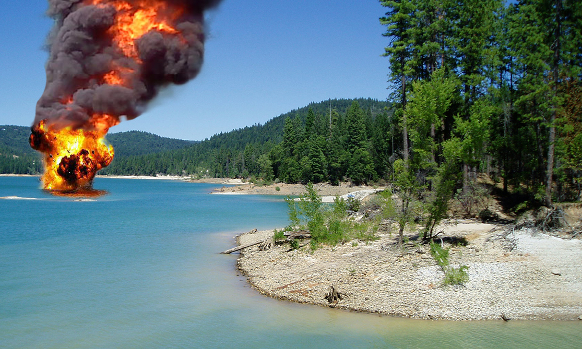 This photo was taken seconds after the explosion on Scotts Flat Lake.