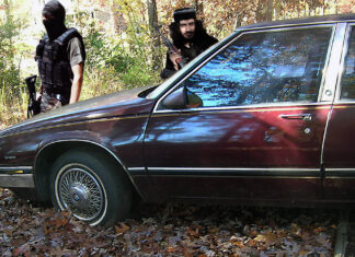 ISIS terrorists preparing to attack retired Col. Jack Ripper's 1989 Buick LeSabre, as seen via his imagination.