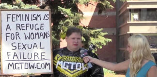 Area man Trent Turco in one of his many MGTOW singular protests.