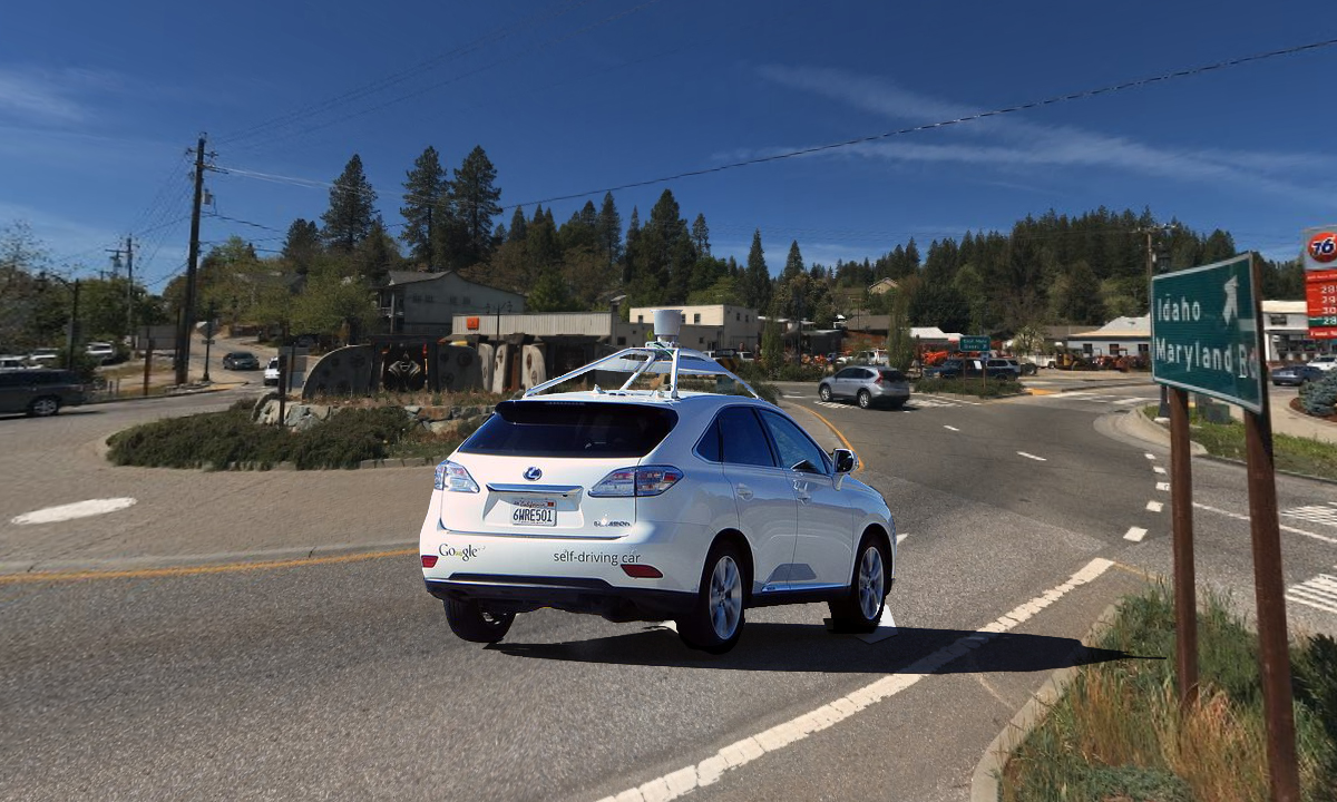 Self-driving Google Car Gets Stuck in Grass Valley Roundabout