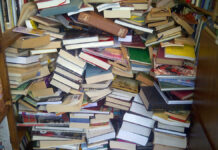 Area area burglar stole two bookshelves from a local bookstore, but left the books.