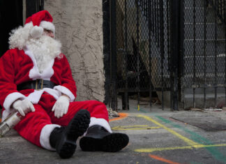 This Santa is drunk and probably out on parole.