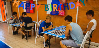 Area home-schooled student Dane Speaker of Nevada City requested a chess-themed party for his 18th.
