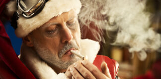 Santa seen here enjoying a joint in Stacy Grant's Cottage Street home in Nevada City, CA.