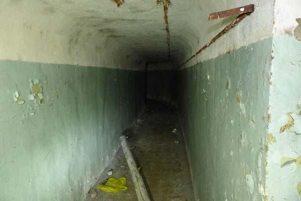 The main hallway just past the entrance was long, cold and creepy.