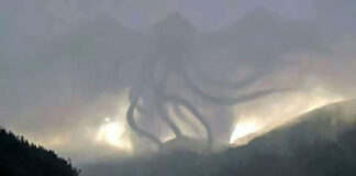 Cthulhu captured over Interstate 80 in Nevada County.