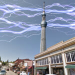 The 2700 ft. Nevada City SkyTower as seen from Broad Street.